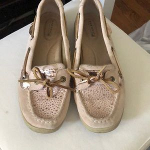 Rose gold and light pink Sperry Top Siders